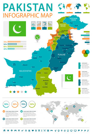 Pakistan infographic map and flag - vector illustration Illustration