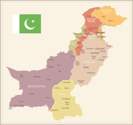 Pakistan vintage map and flag - vector illustration