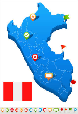 lima region: Peru map and flag - vector illustration