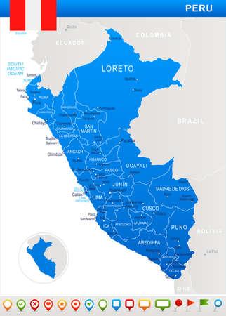 Perú mapa y la bandera - ilustración vectorial Vectores