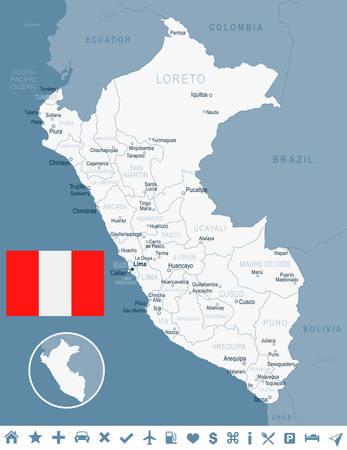 ペルーのマップ、フラグ - ベクトル図  イラスト・ベクター素材