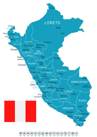 Peru map and flag - vector illustration
