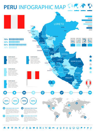 Peru infographic map and flag - vector illustration Illustration