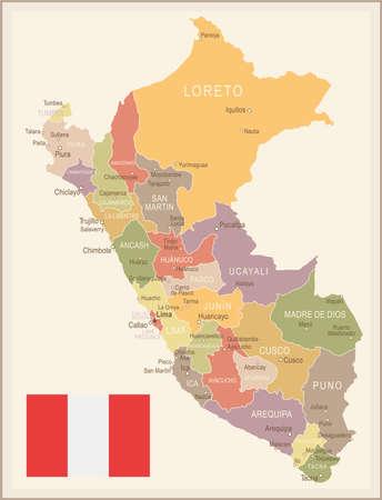 Peru vintage map and flag - vector illustration Illustration