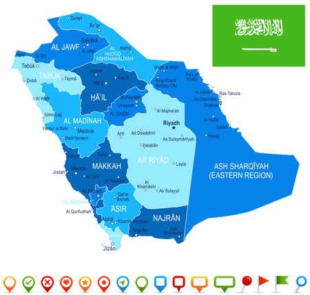 サウジ アラビア マップ、フラグ - ベクトル図