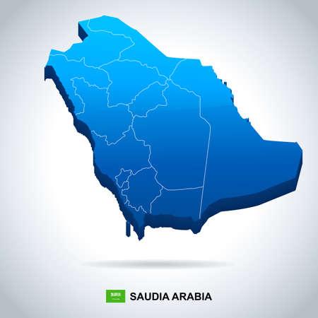 Saudi Arabia map and flag - vector illustration Illustration