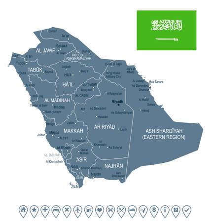 Saudi Arabia map and flag - vector illustration Çizim