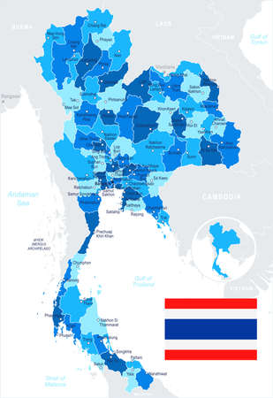 Thailand map and flag - vector illustration Vettoriali