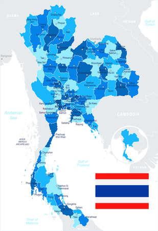 Thailand map and flag - vector illustration Illustration