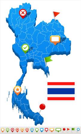 Thailand map and flag - vector illustration Иллюстрация