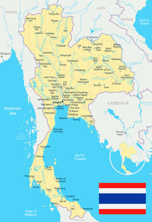 Thailand map and flag - vector illustration