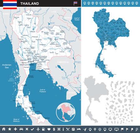 タイ インフォ グラフィック マップとフラグ - ベクトル図