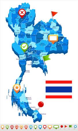 Thailand map and flag - vector illustration Stock Vector - 84145567