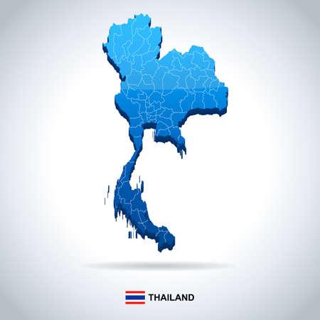 タイ地図とフラグ - ベクトル図