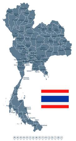 タイの地図と国旗のイラスト。