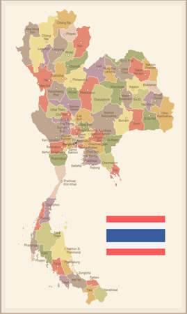 Thailand vintage map and flag - vector illustration Stock Vector - 84146877