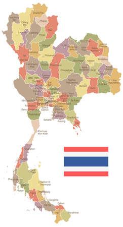 タイのヴィンテージ地図とフラグ - ベクトル図