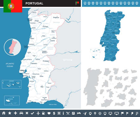 Portugal infographic map and flag - vector illustration Banco de Imagens - 84178201