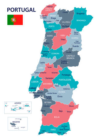 Portugal map and flag - vector illustration