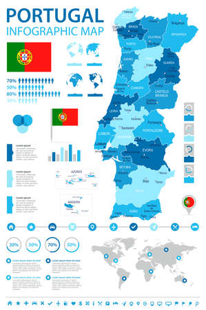 Portugal infographic map and flag - vector illustration