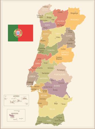 Portugal vintage map and flag - vector illustration