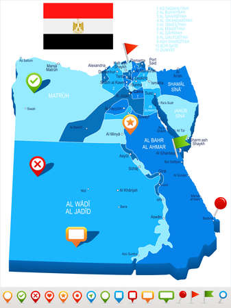 エジプトの地図とフラグ - ベクトル図  イラスト・ベクター素材