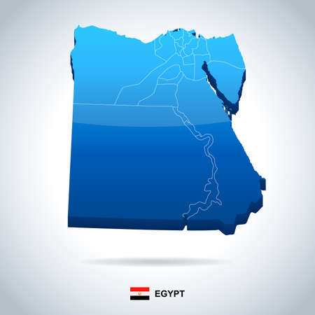 Egypt map and flag - vector illustration
