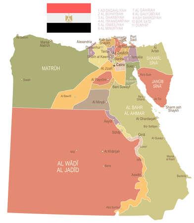 Egypt vintage map and flag - vector illustration