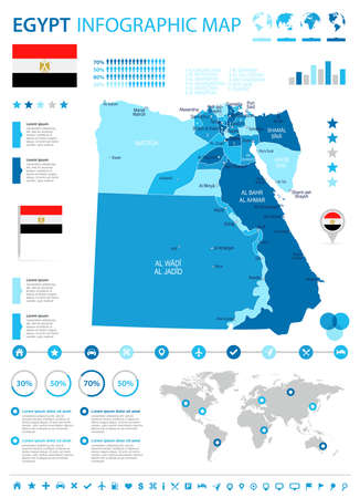 Egypt infographic map and flag - vector illustration