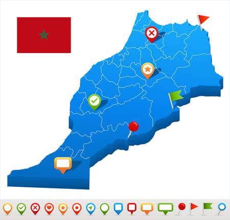 Morocco map and flag - vector illustration Illustration