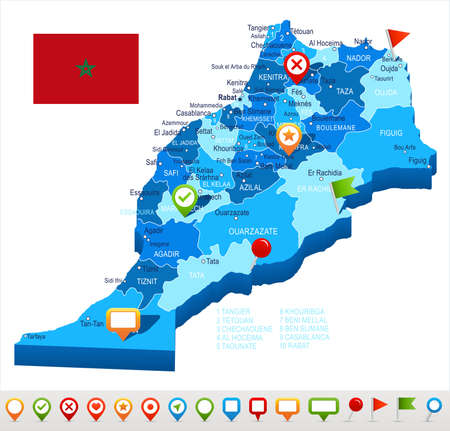 map pin: Morocco map and flag - vector illustration Illustration