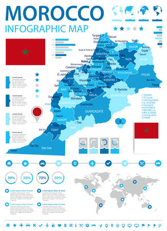 map pin: Morocco infographic map and flag - vector illustration