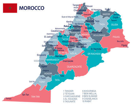 Morocco map and flag - vector illustration Stock Illustratie