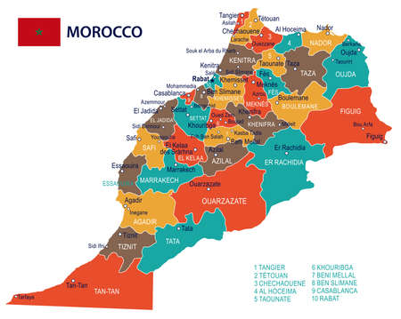 Morocco map and flag - vector illustration Vectores
