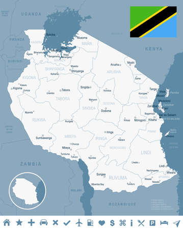 Tanzania map and flag - vector illustration
