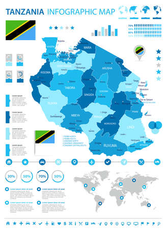Tanzania infographic map and flag - vector illustration Illustration