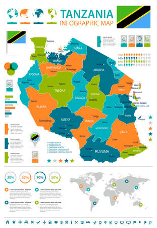 Tanzania infographic map and flag - vector illustration Ilustrace