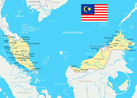 Malaysia map and flag - vector illustration