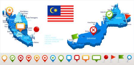 Maleisië kaart en vlag - vector illustratie Stockfoto - 84577015