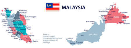 Malaysia map and flag - vector illustration Stok Fotoğraf - 84636793