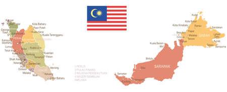 ビンテージ、マレーシアの地図とフラグ - ベクトル図  イラスト・ベクター素材