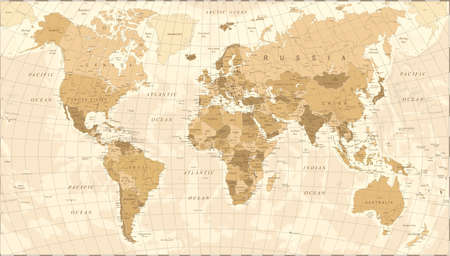 World Map Vintage Vector illustration Stock Illustratie