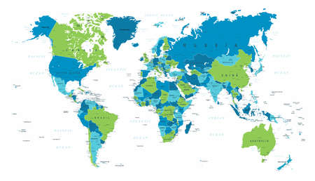 World Map Political Blue Green Vector Illustration Ilustrace