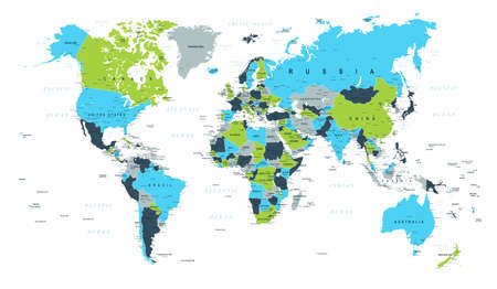 World Map Political Blue Green Brown Vector Illustration