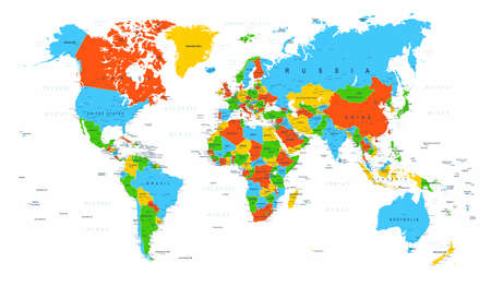 World Map Political Red Blue Green Vector Illustration