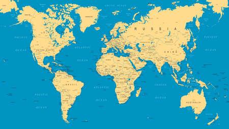 World Map Political Blue Beige Vector Illustration Illustration