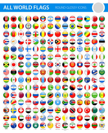 All World Flags - Round Glossy Vector Icons Çizim