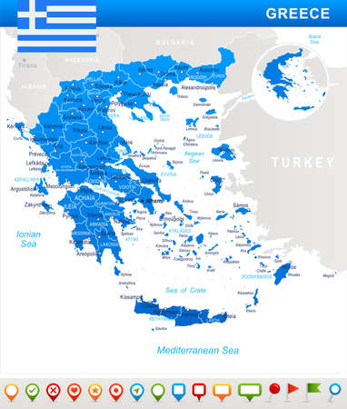 Greece map and flag - vector illustration