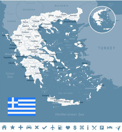 Greece map and flag - vector illustration Stok Fotoğraf - 84521650