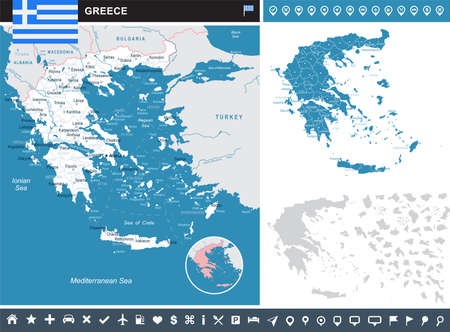 Greece infographic map and flag - vector illustration Illustration